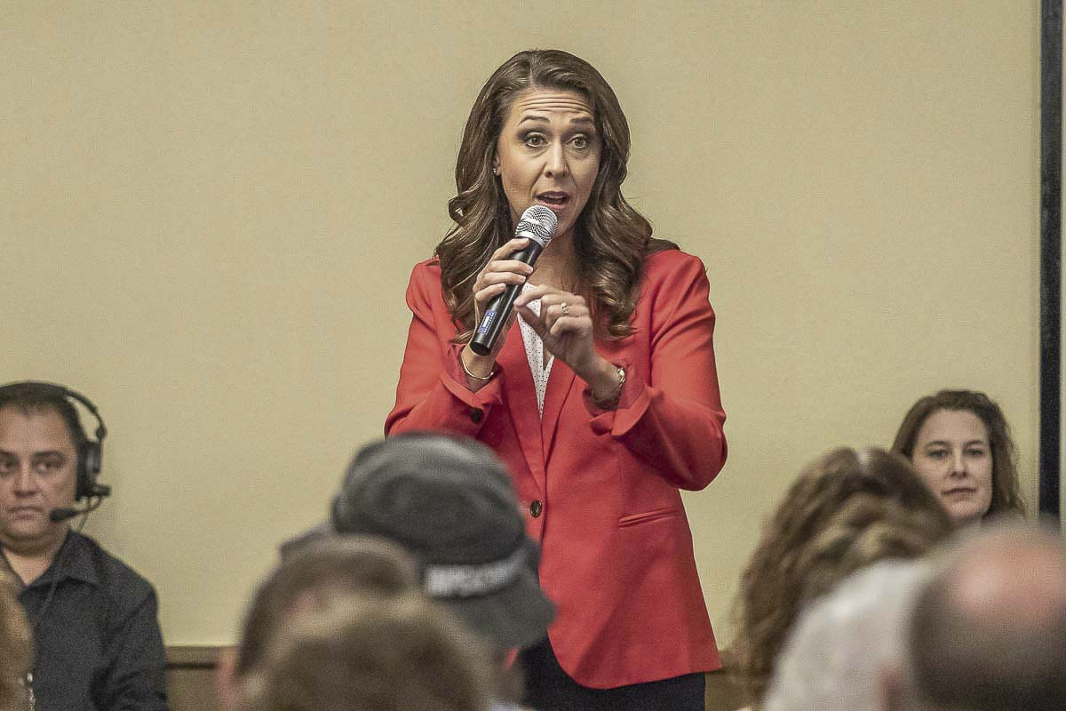Congresswoman Jaime Herrera Beutler speaks during a debate in 2018. She will be facing off against Carolyn Long again this year. Photo by Mike Schultz