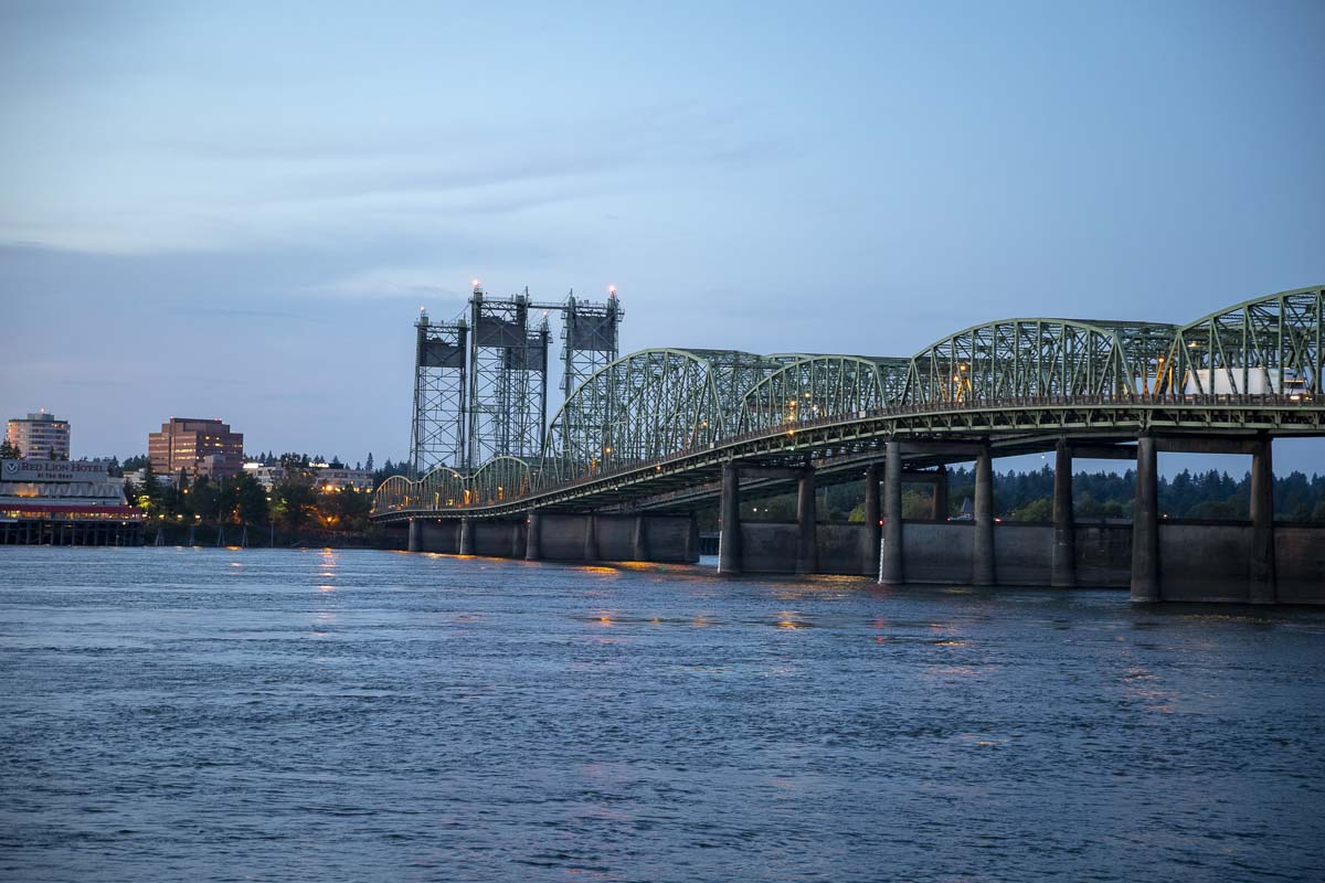 The Interstate Bridge on I-5 spans the Columbia River between Oregon and Washington. File photo