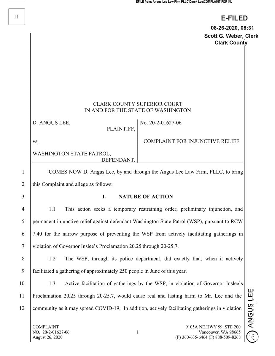 D. Angus Lee has filed a suit against the Washington State Patrol