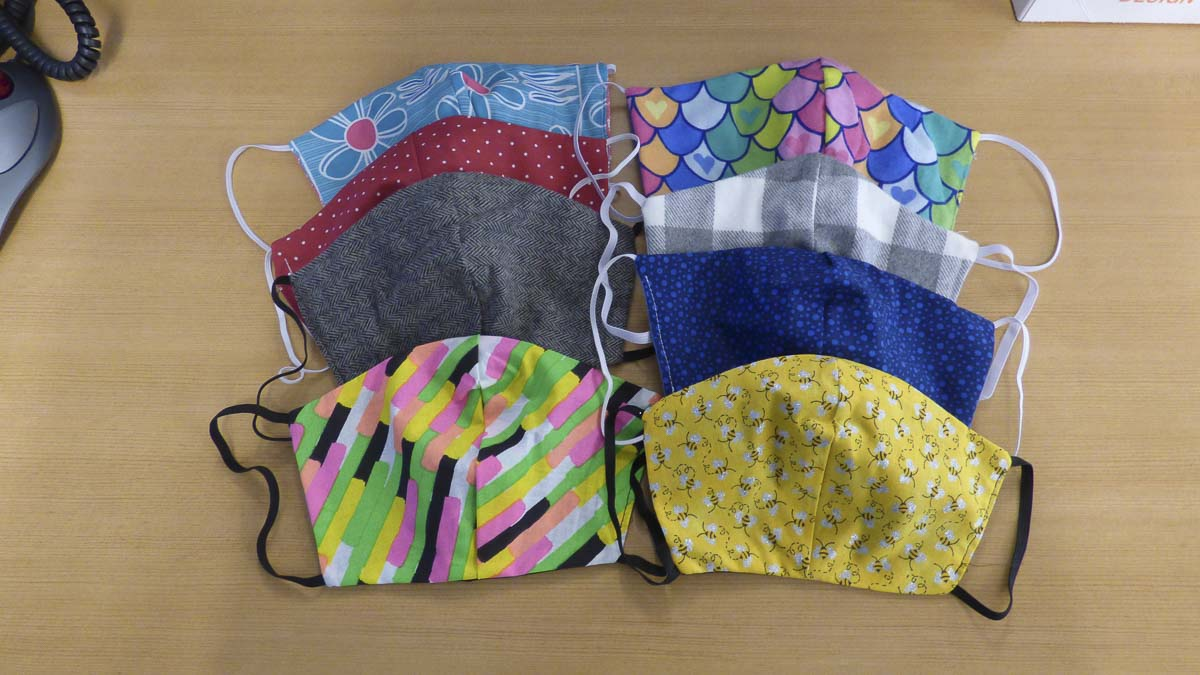 The masks were made in a wide variety of fabric designs. Photo courtesy of Ridgefield Public Schools