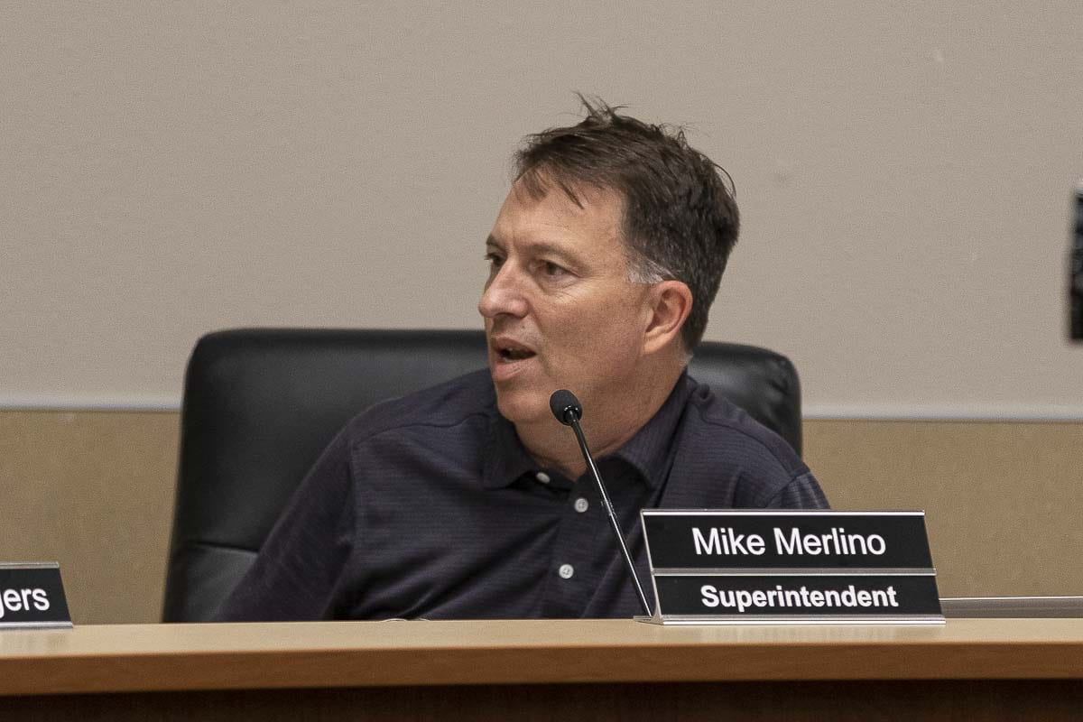 Evergreen Public Schools Superintendent Mike Merlino speaks at a Board of Directors meeting in June, 2019. Photo by Mike Schultz
