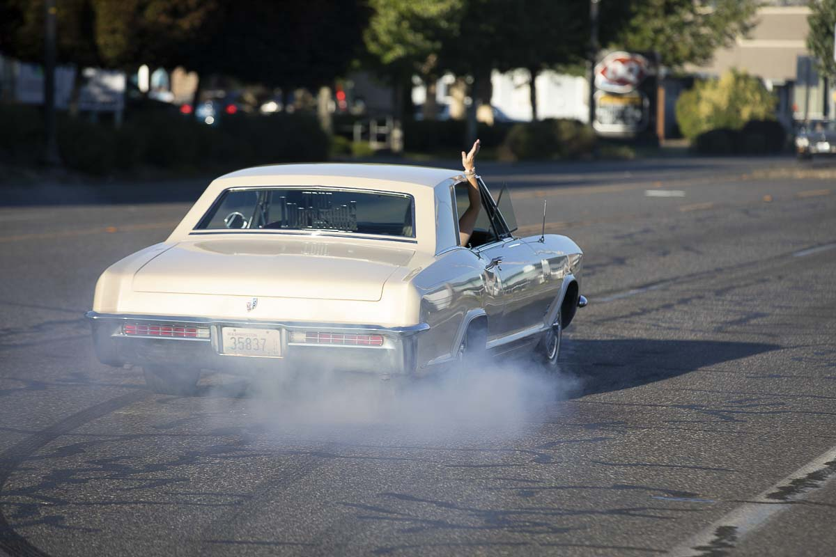 Smoking tires is just one of the highlights of a cruise-in, something Gary Livingston loved. Photo by Mike Schultz