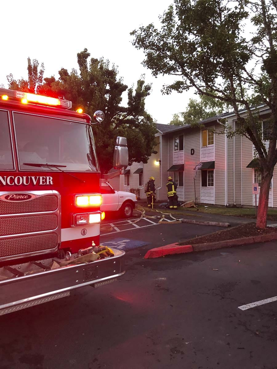 At 5:52 a.m. Saturday, the Vancouver Fire Department was dispatched to an apartment fire at 2900 General Anderson Avenue, the site of the Market Place Apartments. The VFD sent three fire engines and two ladder trucks and two battalion chiefs to the fire. Photo courtesy of Vancouver Fire Department