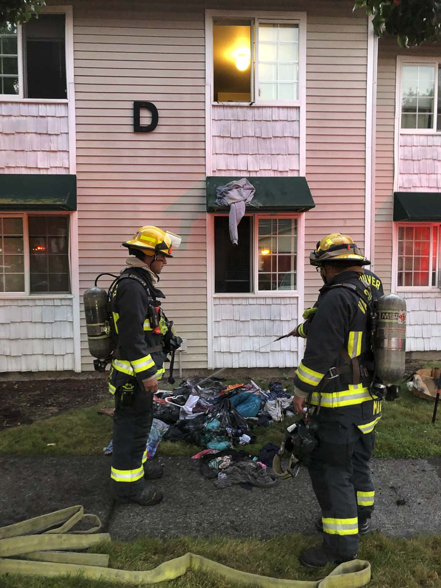 The resident of the apartment was able to break into a fire extinguisher cabinet and get an initial hit on the fire until firefighters could arrive. These actions greatly reduced the size and extent of the fire. Photo courtesy of Vancouver Fire Department