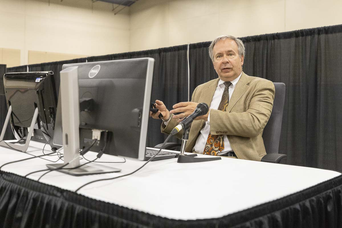 Clark County Superior Court Presiding Judge Scott Collier sits in the judge's chair in a temporary courtroom set up at the Clark County Event Center at the Fairgrounds. Photo by Mike Schultz