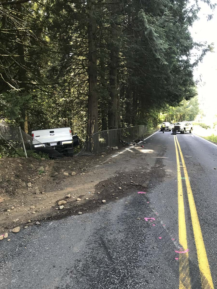 Driver James E. Jones, a 45-year-old Battle Ground resident, and 26-year-old passenger Collan C. Riley, of Vancouver, were the victims of the single-vehicle fatality accident that occurred in the 21500 block of NE Lucia Falls Road just before noon on Monday. Photo courtesy of Clark County Sheriff's Office