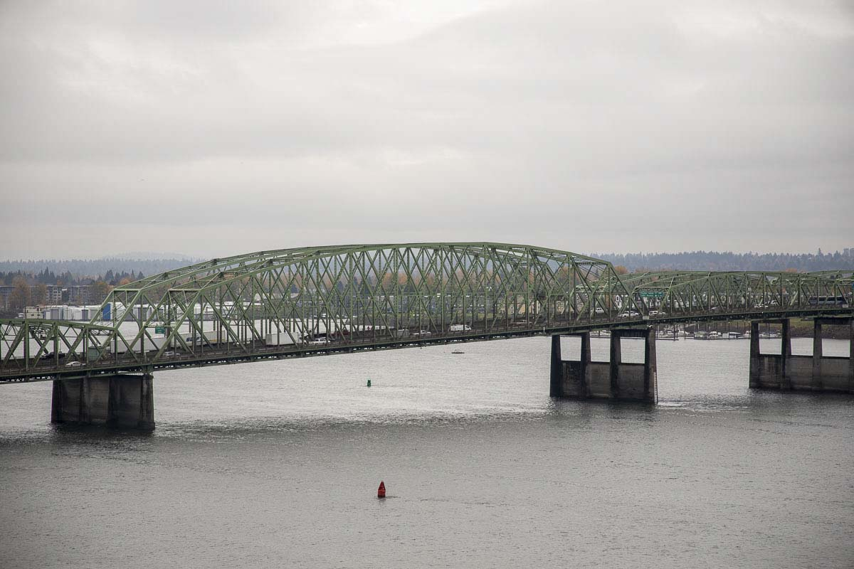 The Interstate Bridge on I-5 spans the Columbia River between Oregon and Washington. Photo by Chris Brown
