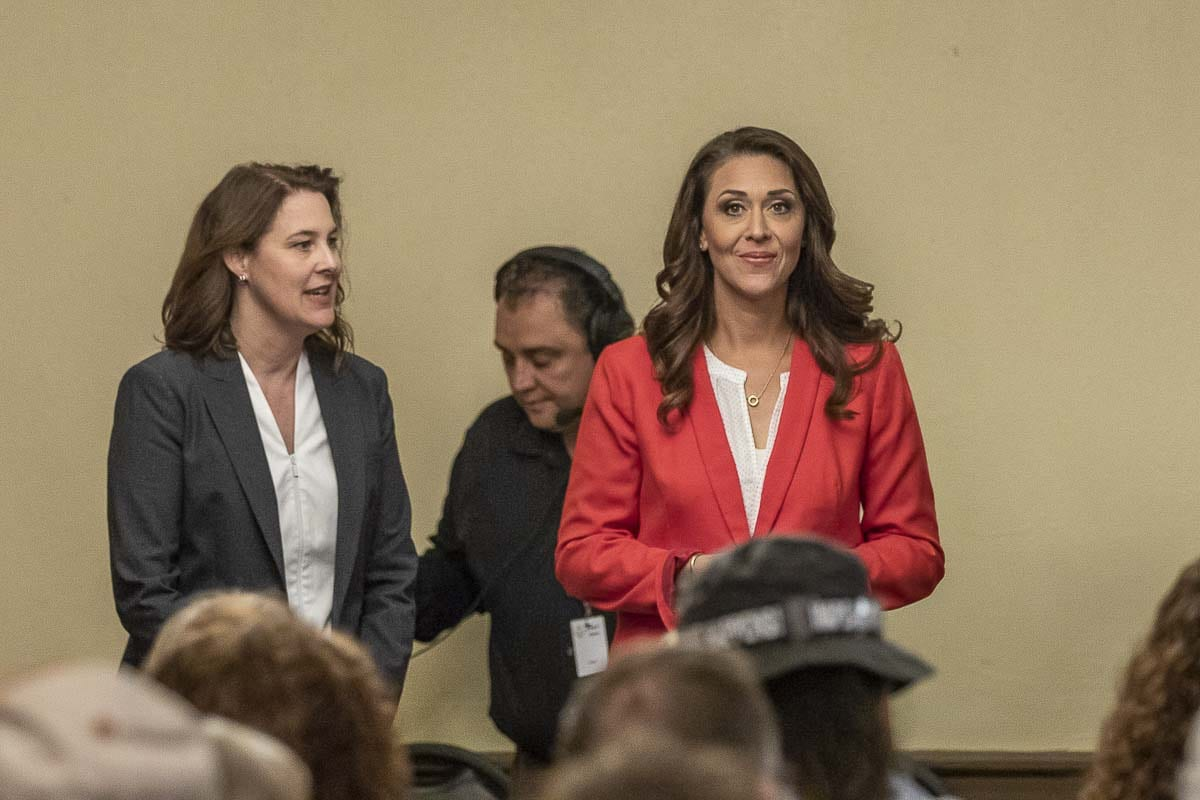 Congresswoman Jaime Herrera Beutler and Carolyn Long are shown here during a debate at the Woodland Chamber of Commerce in 2018. The two will square off again this November in the 3rd Congressional District race. Photo by Mike Schultz
