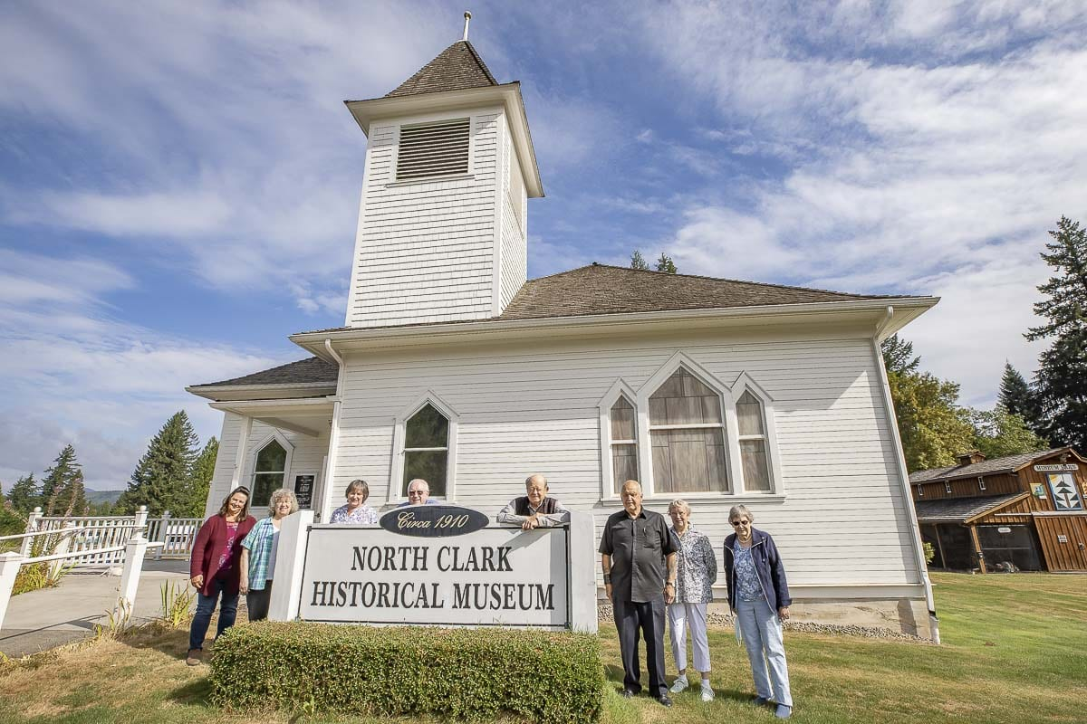 From right to left, the board members of the North Clark Historical Museum: Debbie Zitt, Georgene Neal, April Reichstein, George Weisenborn, Jim Malinowski, Jerry Johnson, Barbara Rogers, Barbara Hagedorn. Photo by Mike Schultz