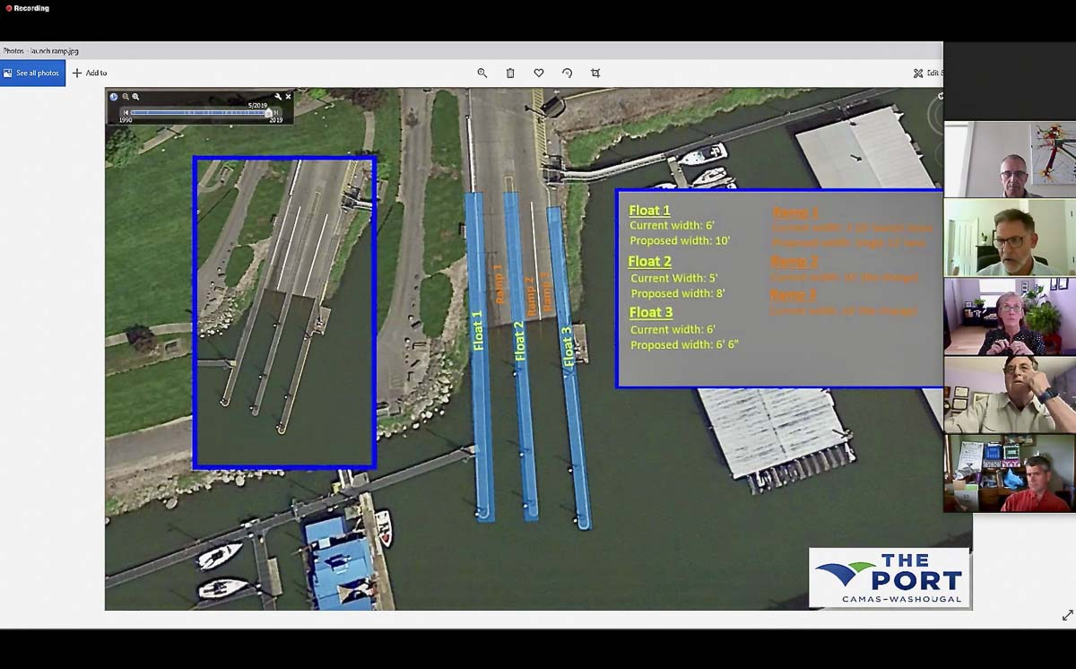 This screenshot of a diagram shown during the Aug. 19 Coffee Talk time outlines the changes the Port of Camas-Washougal will make to their boat launch and ramp. Photo courtesy of the Port of Camas-Washougal