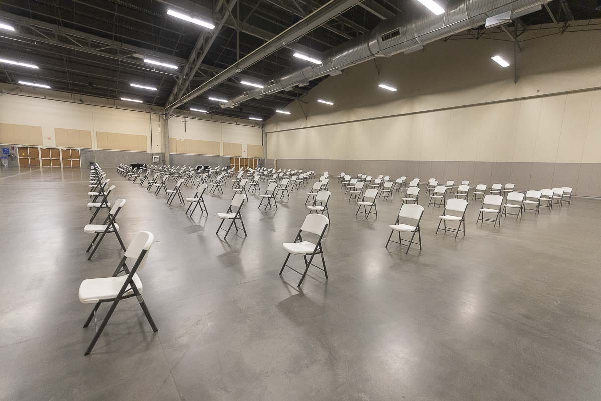 Potential jurors will be safely spaced out in a staging area before they are called to one of two courtrooms set up at the Clark County Event Center at the Fairgrounds. Photo by Mike Schultz