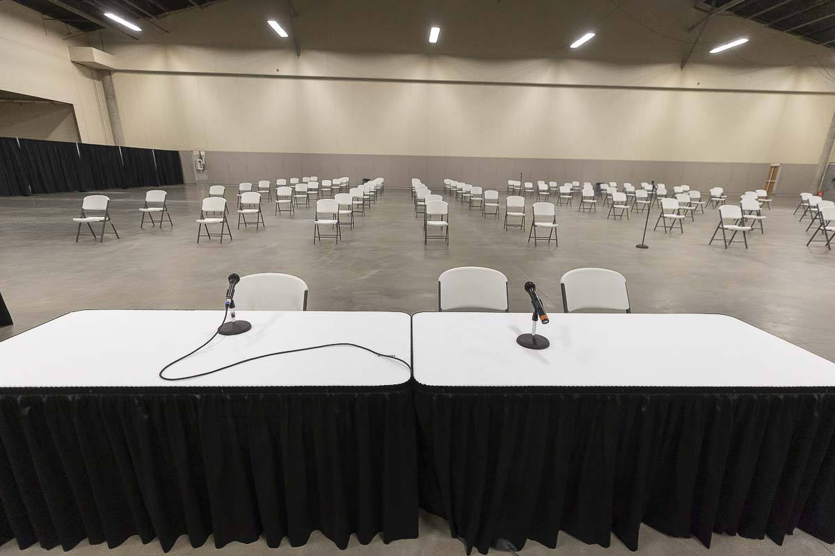 A courtroom has been set up at the Clark County Event Center that will be used for jury selection for Clark County Superior Court. Photo by Mike Schultz