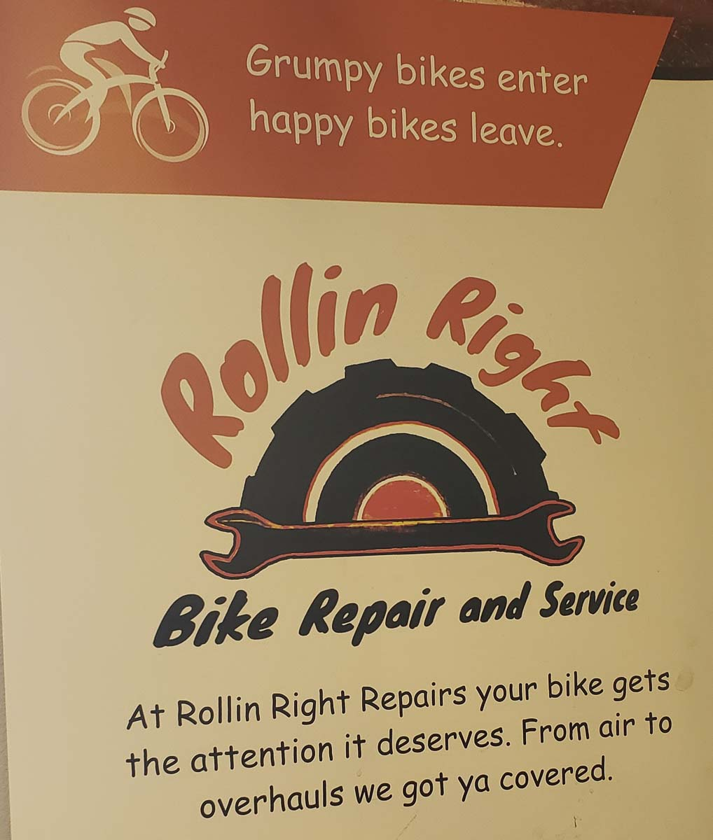 A sign inside Rollin Right Bike Repair describes store owner Edward Eley's philosophy. Photo by Paul Valencia
