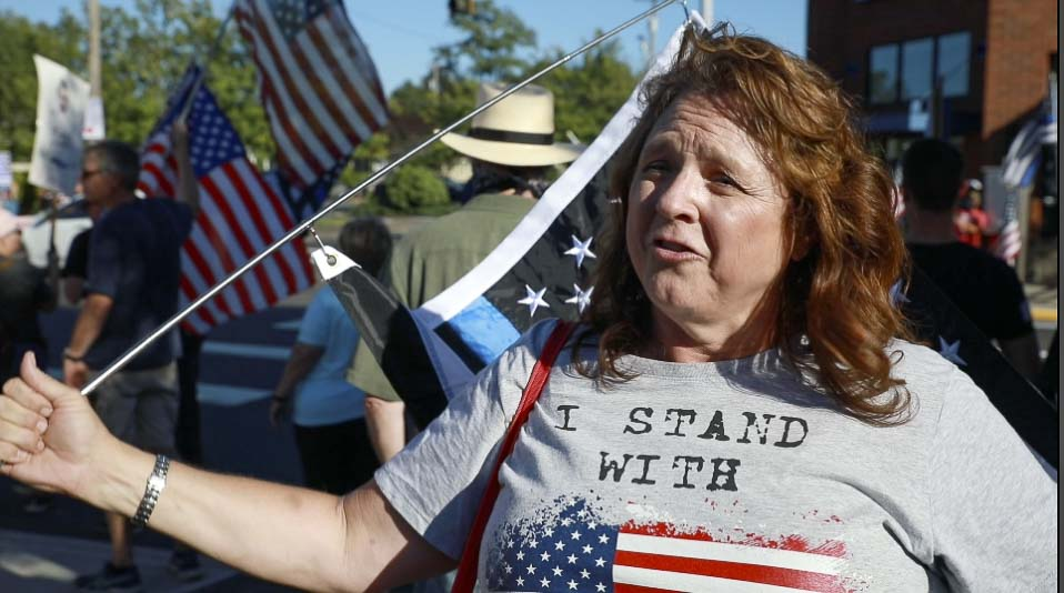 Helen Sudbeck said she created a flyer for Rally for the Blue, and hundreds of people showed up to support law enforcement. Photo by Jacob Granneman.