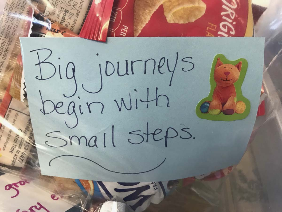 The snack bag notes are a great way to share a positive message in a challenging time. Photo courtesy of Ridgefield Public Schools