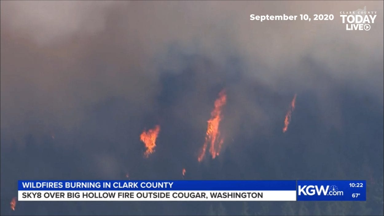 Burning trees and massive plumes of smoke mark the scene of the Big Hollow Fire, which has covered more than 12,000 acres southwest of Cougar. Photo courtesy KGW.com/Sky8