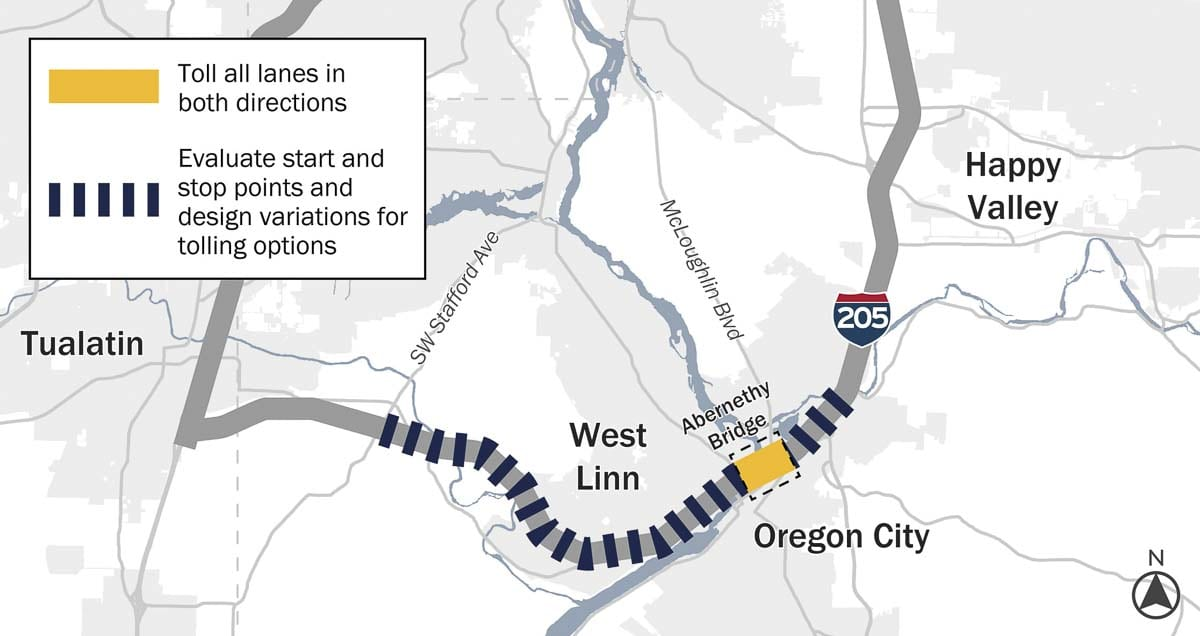 This image shows the planned area for tolling on I-205 in Oregon. Image courtesy Oregon Dept. of Transportation