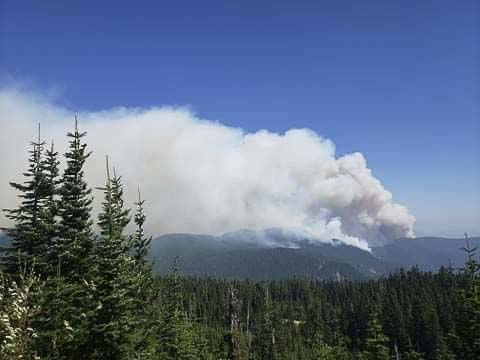 The Big Hollow fire southeast of Cougar reached nearly 21,000 acres over the weekend. Image courtesy U.S. Forest Service