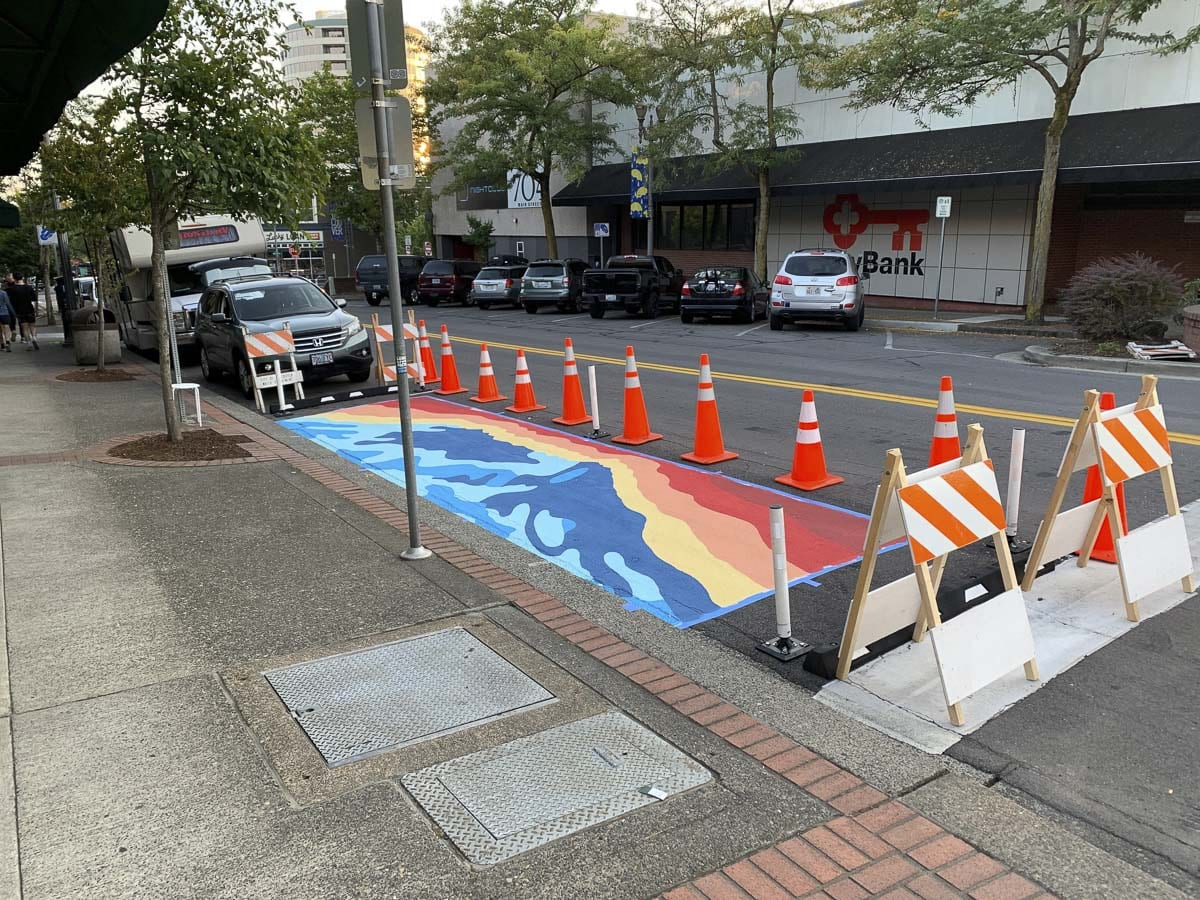 An abstract mural of Mt. St. Helens can now be seen along the road near the intersection of 8th and Main in Vancouver's downtown. Photo courtesy of VDA