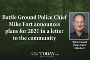 Battle Ground Police Chief Mike Fort announces plans for 2021 in a letter to the community