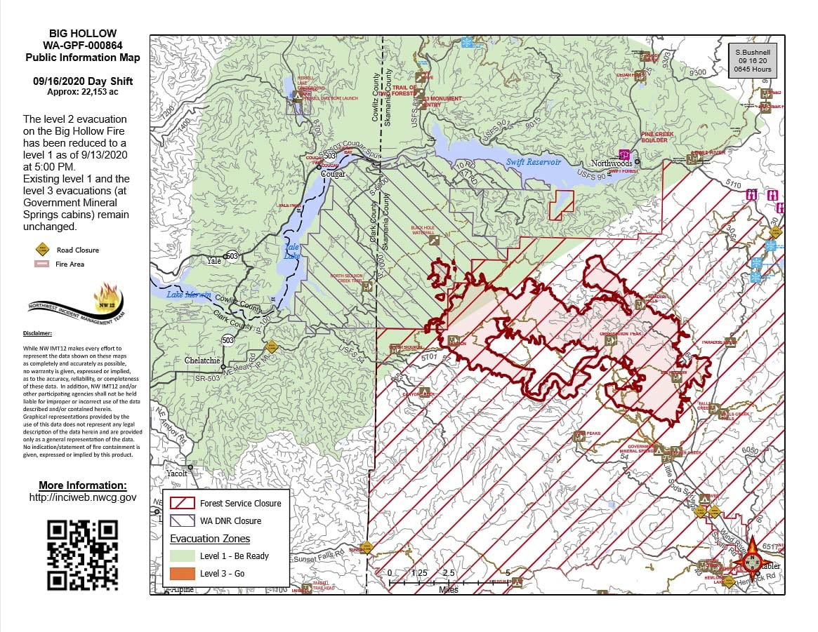 A map showing where the Big Hollow fire is burning, and closures for DNR lands and the Gifford Pinchot National Forest. Photo courtesy Northwest Incident Management Team 12