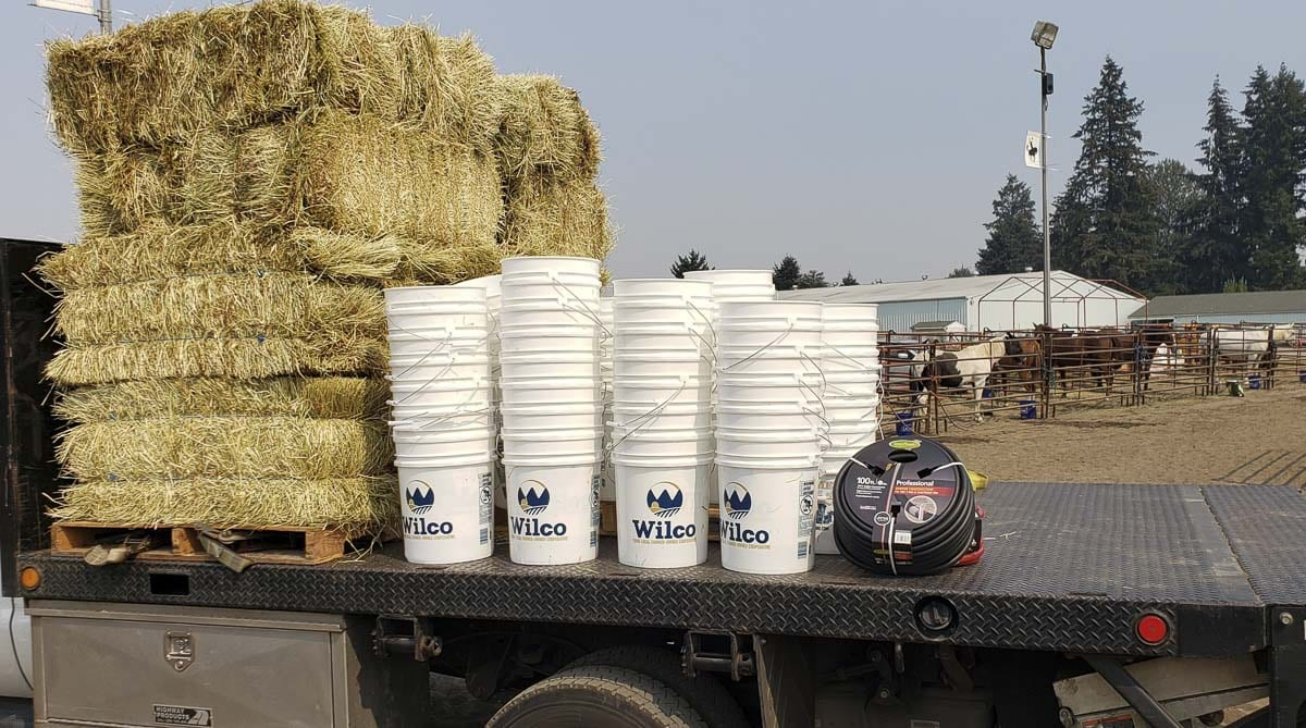 Wilco and other companies donated hay, buckets and other supplies as the Clark County Saddle Club brought in horses from evacuated areas in the Northwest. Photo by Paul Valencia