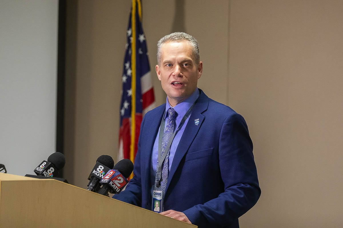 Camas School Superintendent Jeff Snell addresses the media in February regarding their response to the COVID-19 pandemic and how the district would deal with school instruction for the remainder of the spring. Photo by Mike Schultz.