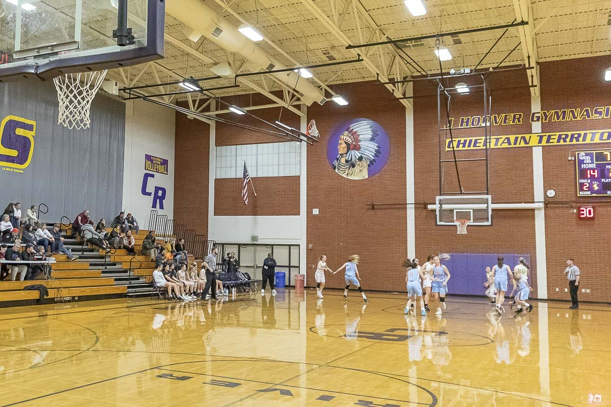 Imagery and logos in the gym, and all over Columbia River High School, will soon change after the school board voted to retire the name Chieftains. Photo by Mike Schultz