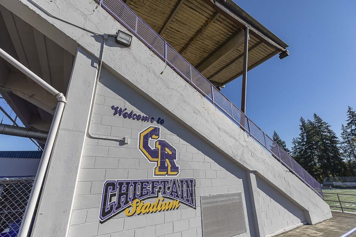 "Columbia River High School officials have been in the process of doing away with Native American imagery for its logo and going with CR. Some on the school board want to retire the name ""Chieftains"" and the logo. Photo by Mike Schultz"
