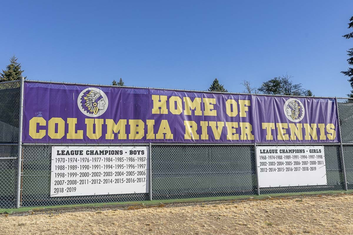 Columbia River High School still has some imagery of Native American logos across its campus. In recent years, the school is moving toward using CR instead of a human as its logo. The school might be changing its mascot and logo soon. Photo by Mike Schultz