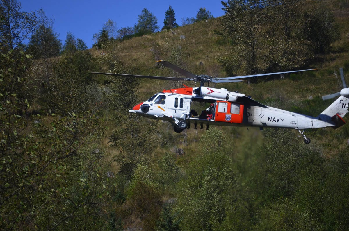 A U.S. Navy helicopter searches for Anthony Mancuso of Vancouver near Mt. St. Helens on Monday. Photo courtesy Cowlitz County Sheriff's Office