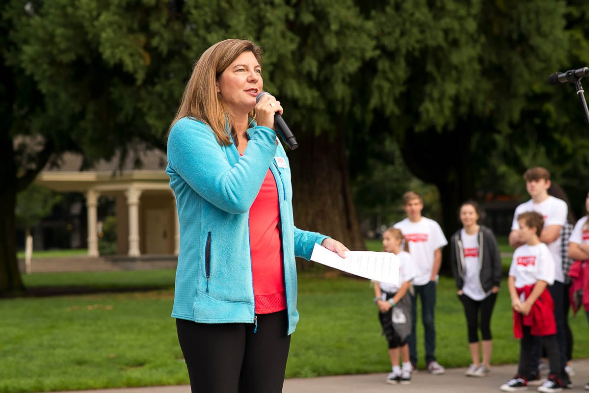 CFSWW President Jennifer Rhoads delivers a speech at 2019's Give More 24! celebration. Photo courtesy of the Community Foundation for Southwest Washington