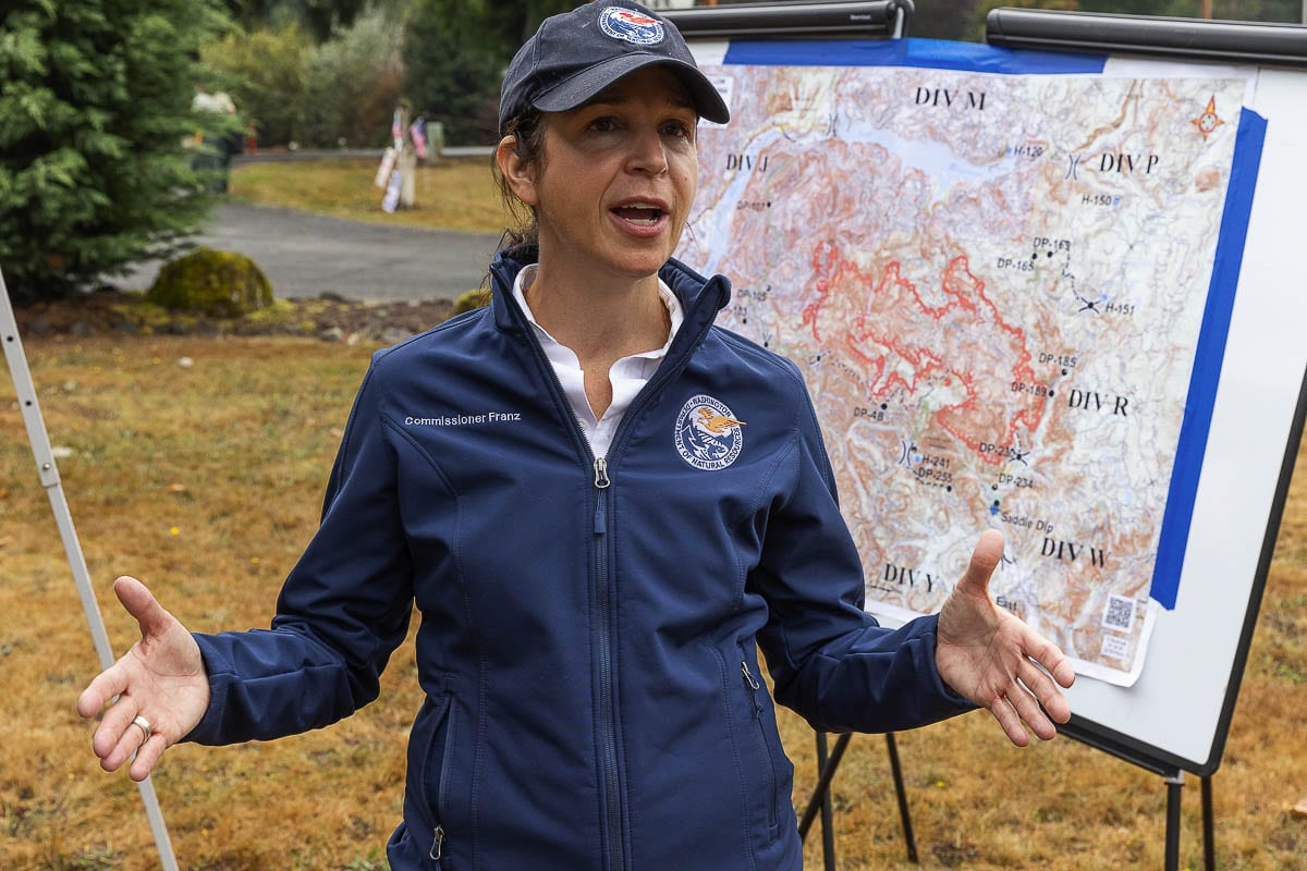 Washington Commissioner of Public Lands Hilary Franz appeared at a press conference last Friday at Amboy Territorial Days Park where she updated area residents on the Big Hollow Fire that was threatening homeowners in both Cowlitz and Clark counties. Photo by Mike Schultz