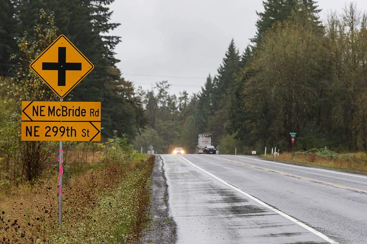 To help improve safety and reduce crashes, travelers who turn left on Northeast 299th Street/Northeast McBride Road from State Route 503 (Lewisville Highway) north of Battle Ground will soon have designated turn lanes. Photo by Mike Schultz
