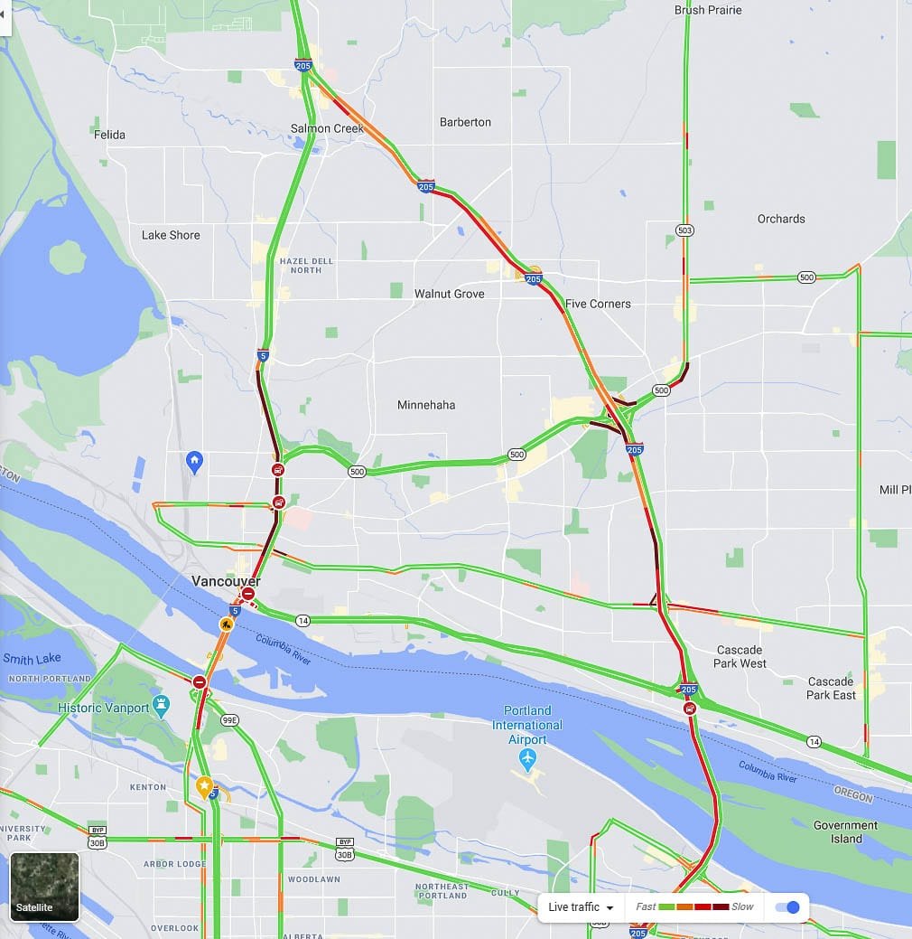 Traffic on Friday afternoon was the worst since the Sept. 19 closure of the Interstate Bridge northbound span on I-5. Image via Google Maps