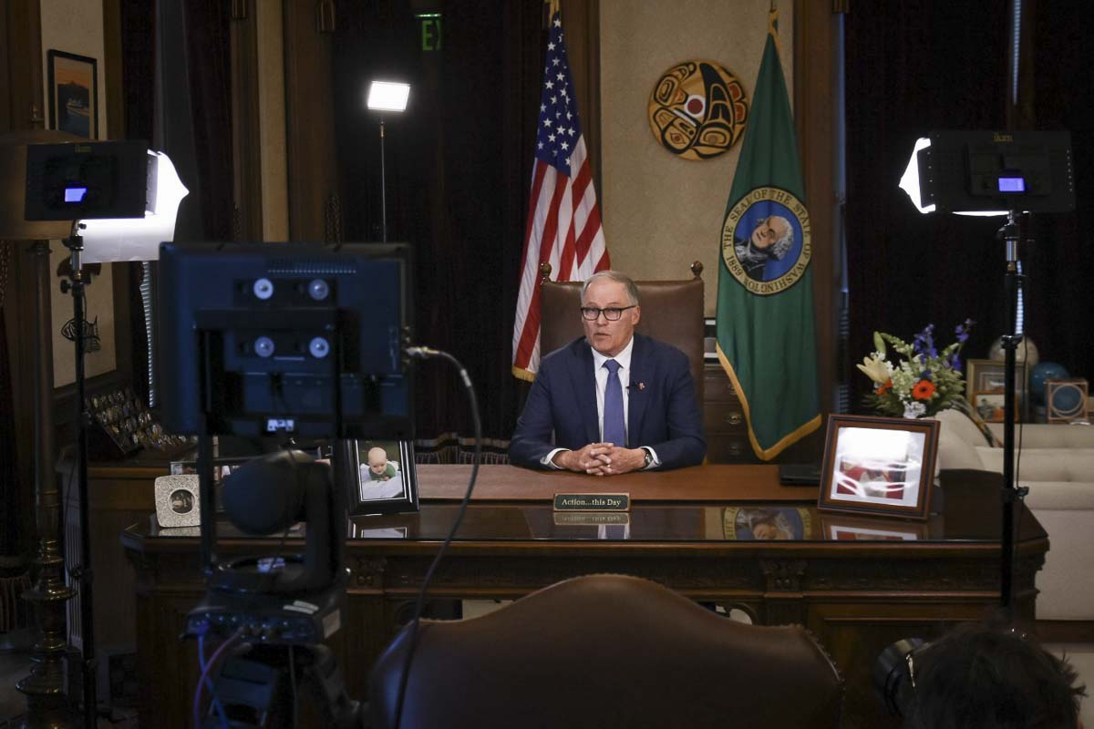 Washington Gov. Jay Inslee at a press conference in March. Photo courtesy Office of Gov. Jay Inslee