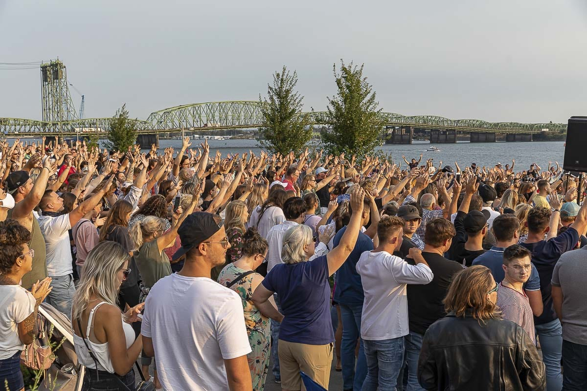 Worshipers came to Vancouver's Waterfront Park on Friday to sing with Let Us Worship. Photo by Mike Schultz
