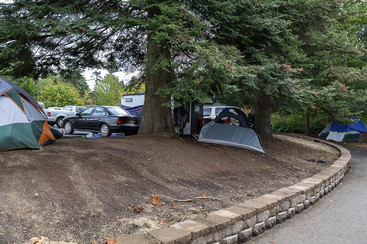 Beyond living in cars, RVs, or campers, some homeless people have set up tents throughout the park and trail systems near Leverich Park. Photo by Mike Schultz