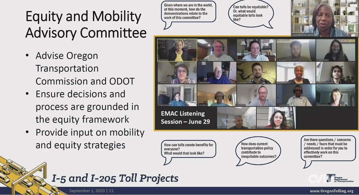ODOT Tolling Program Director Lucinda Broussard gives a virtual presentation to the SW Washington Regional Transportation Council on the Equity and Mobility Advisory Committee working on the I-205 tolling project. Photo courtesy CVTV.org