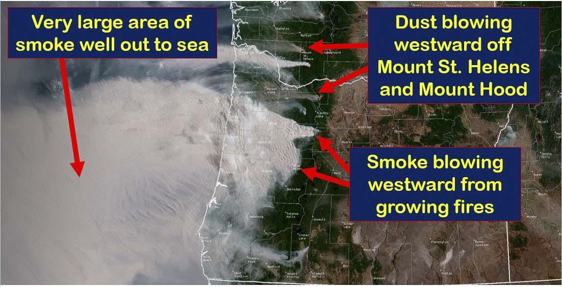 A satellite image shows smoke from wildfires and dust from Mt. St. Helens and Mt. Hood blowing east by strong winds. Image courtesy National Weather Service