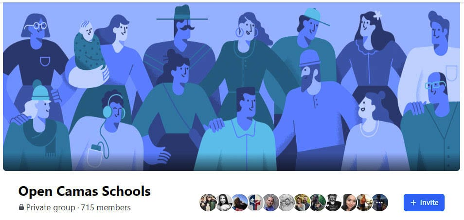 The Camas parents Facebook page Open Camas Schools gives parents a place to share concerns and issues, hoping for an immediate change to in-school instruction for their children. Graphic courtesy of Open Camas Schools Facebook page.