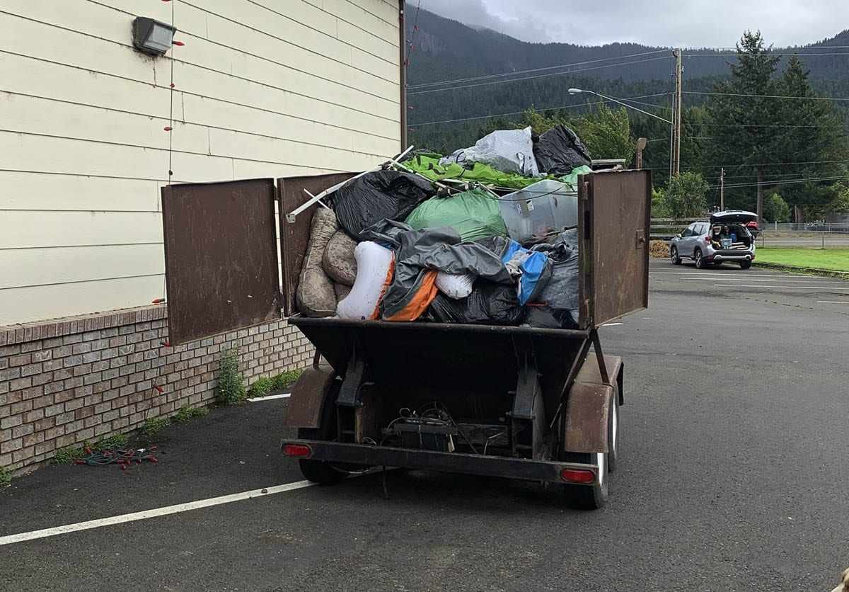 One of several truckloads of garbage pulled out of camping spots near the Skate Creek Recreation area on Sept. 19. Photo courtesy Gifford Pinchot Trash Force
