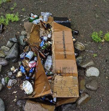 Increased usage of unimproved camping areas due to the COVID-19 pandemic has left behind a mountain of trash. Photo courtesy Gifford Pinchot Trash Force