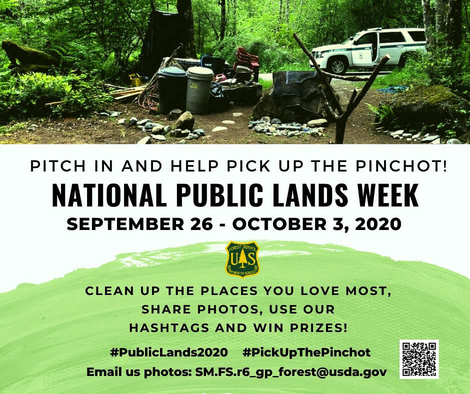 The U.S. Forest Service and the Gifford Pinchot National Forest are urging people to Pick up the Pinchot this week, with a chance to earn prizes. Photo courtesy Gifford Pinchot National Forest