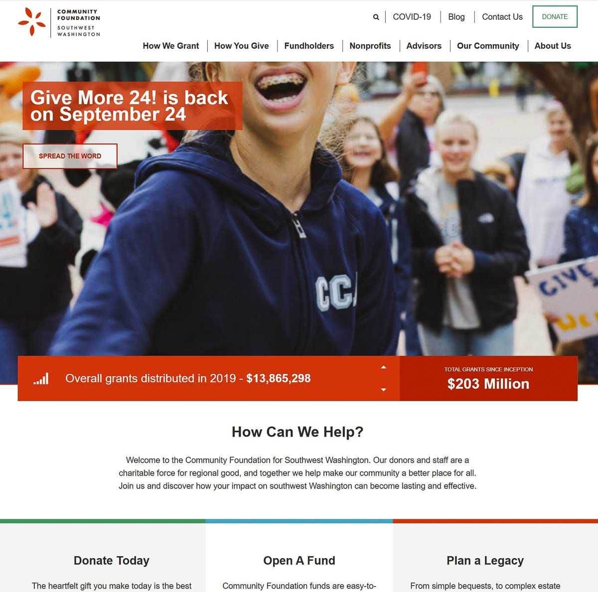 Community Foundation for Southwest Washington announced its results from the Give More 24! Campaign. Clark County donors set a record for the event, now in its seventh year, donating just over $2.9 million.