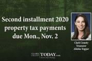 Second installment 2020 property tax payments due Mon., Nov. 2