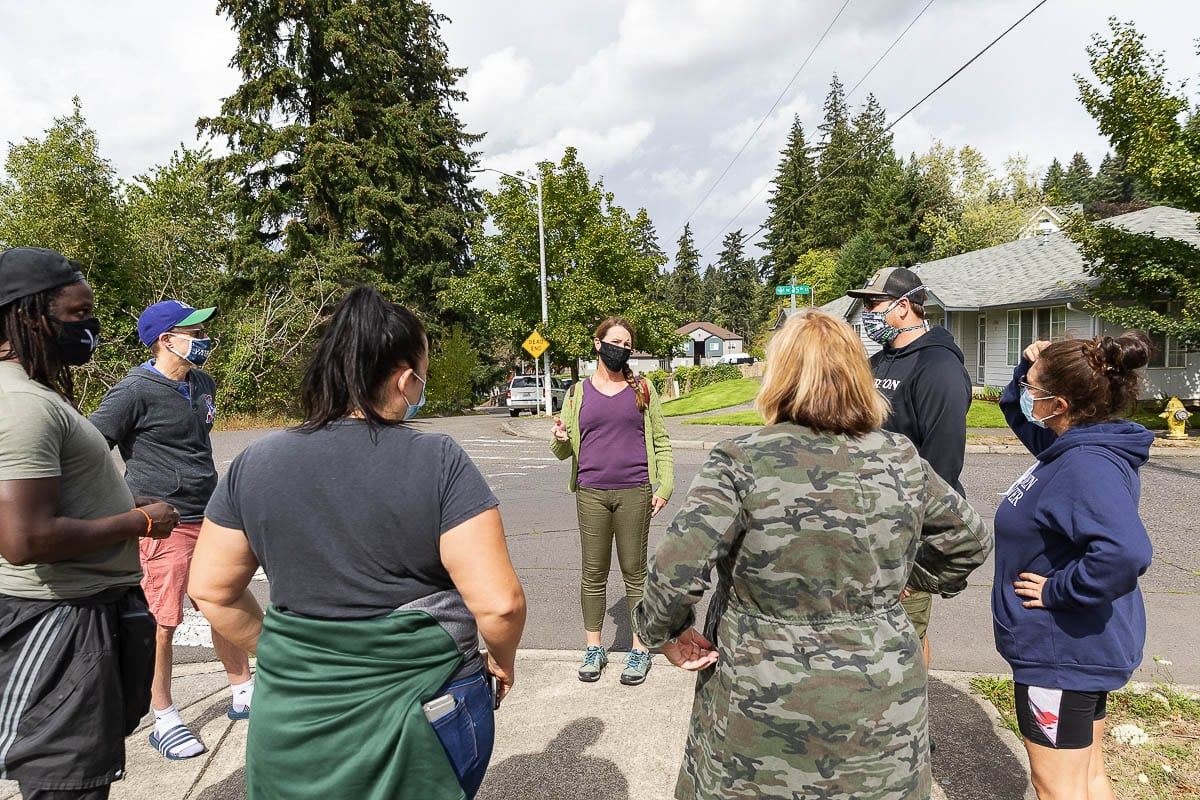 Council Member Sarah Fox met with a group of homeowners Thursday near Leverich Park. She told them help would be on the way. Homeowners have contacted city leaders in regard to the growing problem of homeless camps at and around the park. Photo by Mike Schultz