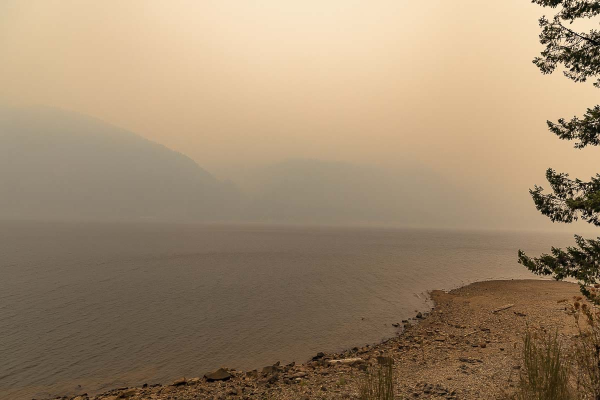Dense smoke obscures the view across Yale Lake from the boat launch on Friday. Photo by Mike Schultz