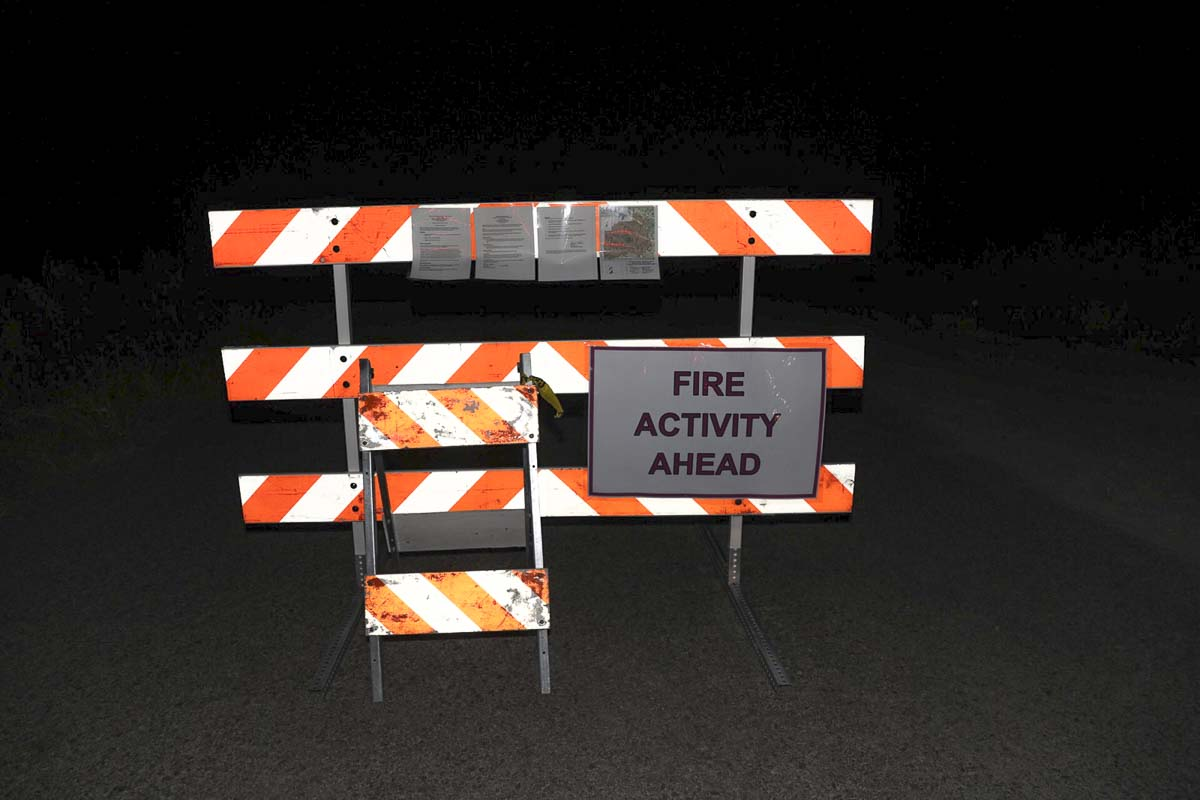 A road closed sign greets travelers on Healy Road outside of Chelatchie Prairie due to the Big Hollow wildfire in the Gifford Pinchot National Forest. Photo by Mike Schultz