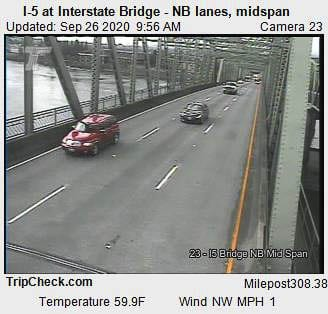 All lanes of I-5 Northbound are open across the Interstate Bridge on Saturday, nearly two days ahead of schedule. Image via Tripcheck.com